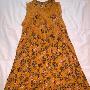 Beautees mustard color dress with flower prints